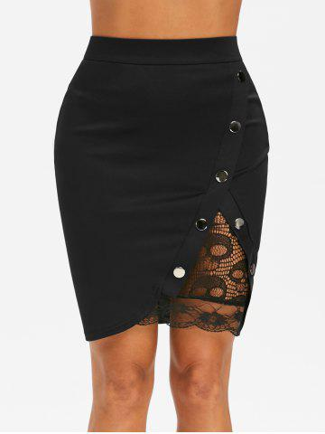 Lace Insert Studded Bodycon Skirt - BLACK - 2XL