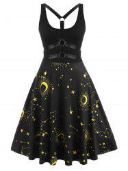 O-ring Strappy Back Star Moon Print Plus Size Dress -