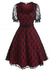Puff Sleeve Overlay Lace A Line Dress -