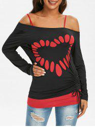Skew Collar Laser Cut Cinched Long Sleeve Top with Camisole -