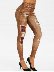 High Waist 3D Plaid Destroyed Print Jeggings -