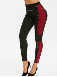 Side Contrast Patch Grommet Studded Pull On Leggings -