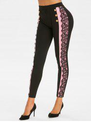 Lace Panel Colorblock Skinny Mock Button Pants -