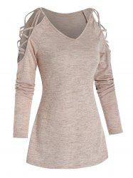Cold Shoulder Criss-cross Heathered Ribbed T-shirt -