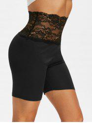 Lace Insert High Waisted Short Leggings -
