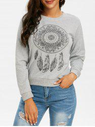 Feather Graphic Crew Neck Pullover Sweatshirt -