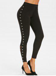 Lace Panel Grommet Skinny Pants -