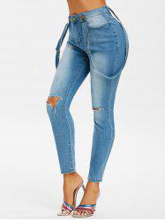 Ripped Skinny Suspender Jeans -