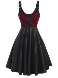 Lace-up Buckled Knit Panel Faux Leather Dress -
