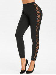 Side Lattice Mesh Panel Footless Leggings -
