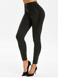 Lace Up Zip Fly Leggings -