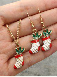 Christmas Stocking Necklace Earrings Set -