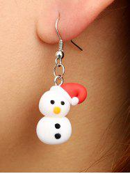 Christmas Snowman Polymer Clay Drop Earrings -