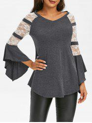 Lace Insert Butterfly Sleeve T Shirt -