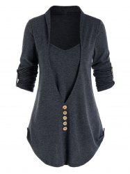Heathered Mock Button Faux Twinset T-shirt -