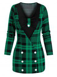 Mock Button Plaid Print Faux Twinset Knitwear -