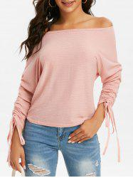 Ribbed Cinched Sleeves Batwing Knitwear -