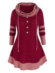 Plus Size Hooded Two Tone Buttoned Contrast Tunic Sweater -