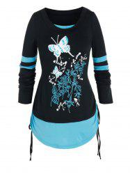 Plus Size Butterfly 2 In 1 Cinched Curved Hem Tee -