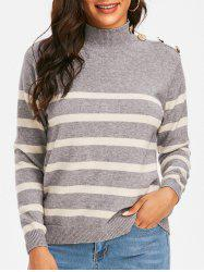 Mock Neck Buttoned Striped Slouchy Sweater -