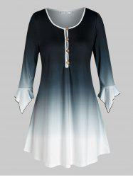 Plus Size Ombre Hanky Cuff Loop Button Tunic Tee -