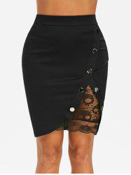 Lace Insert Studded Bodycon Skirt -