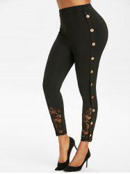 Mock Button Lace Insert Ninth Leggings -