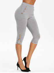 High Waisted Mock Button Marled Skinny Pants -