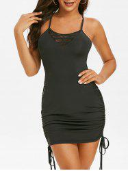 Lace Up Crisscross Cinched Mini Dress -