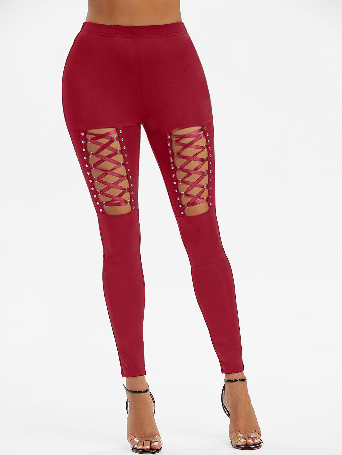 Cheap High Waisted Rivet Detail Lace-up Gothic Leggings