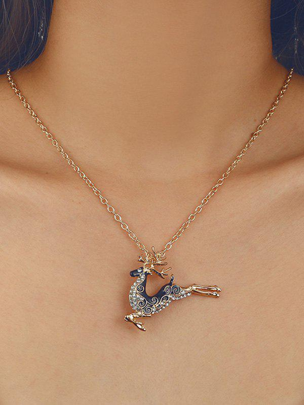 Outfits Christmas Elk Rhinestone Pendant Chain Necklace