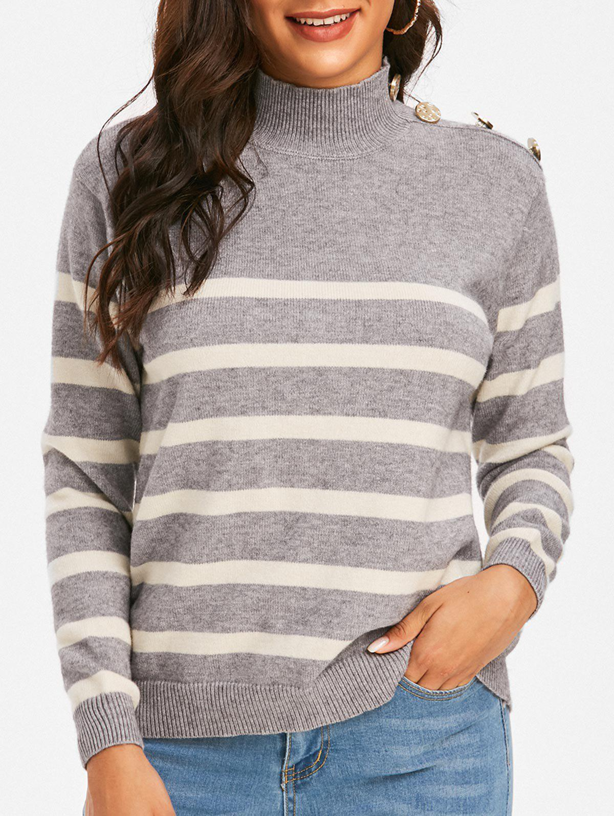 New Mock Neck Buttoned Striped Slouchy Sweater