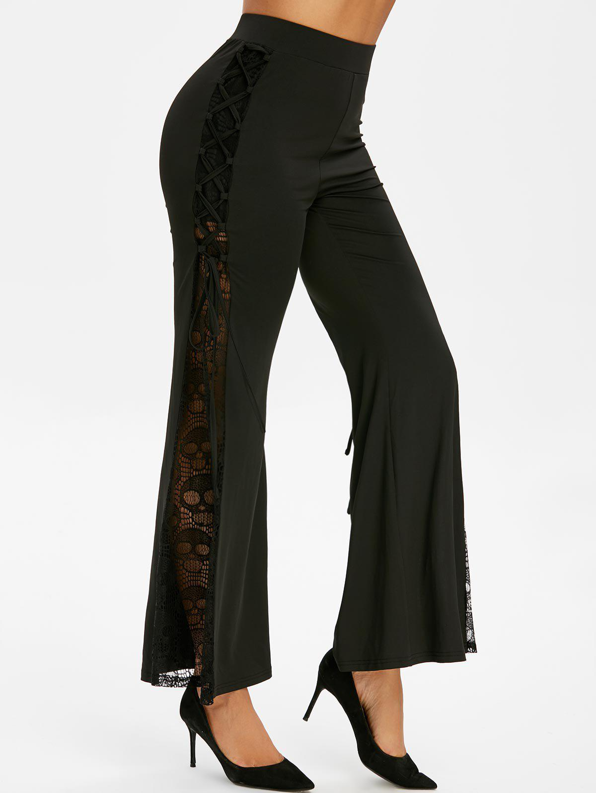 New Halloween Skull Lace Insert Flare Pants