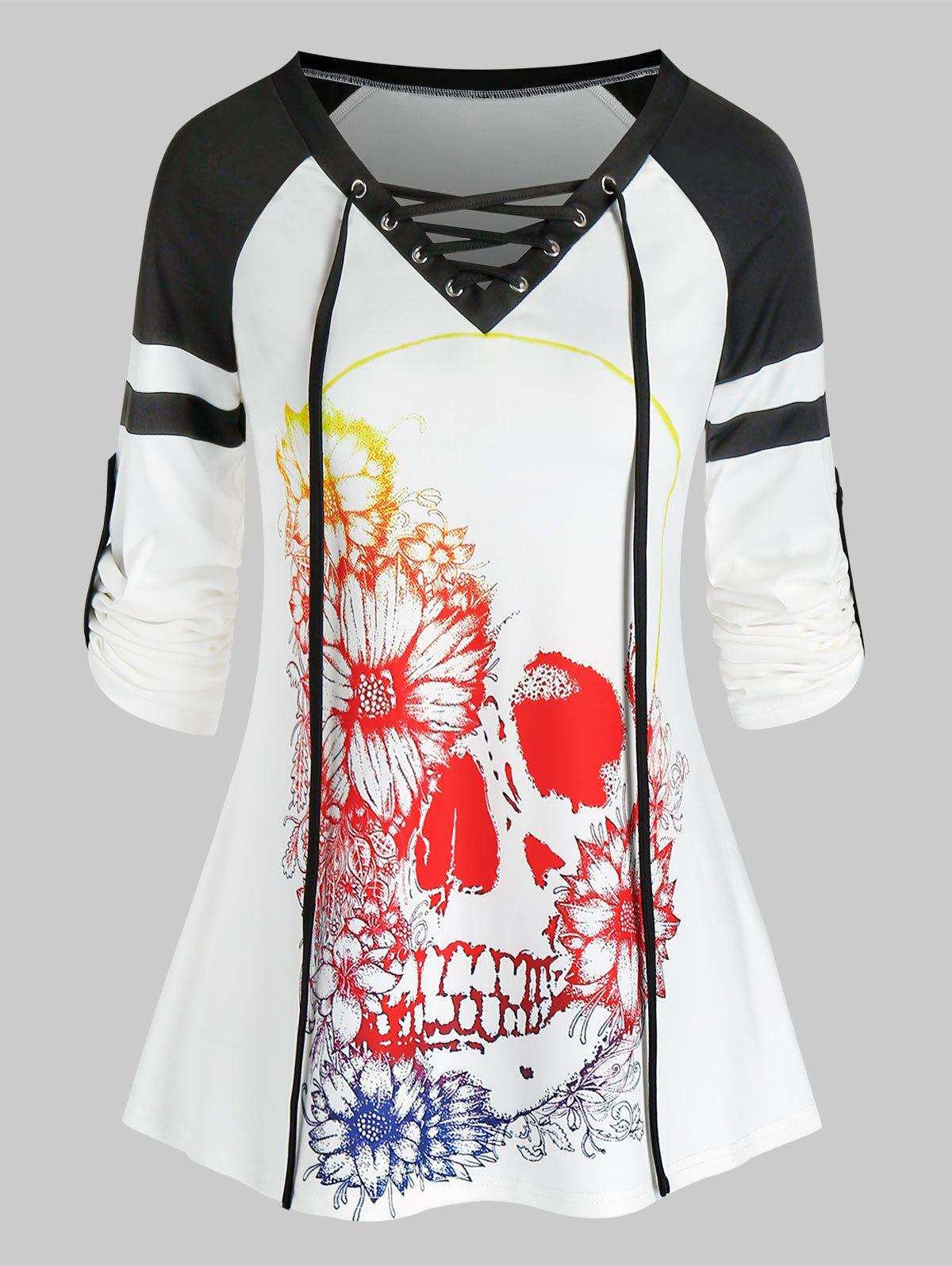 Halloween Skull Flower Print Lace-up Raglan Sleeve T-shirt