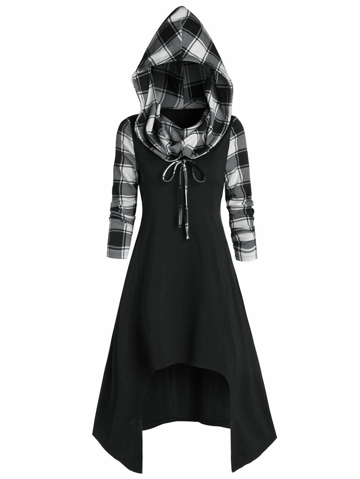 Chic Convertible Hooded Plaid High Low Midi Dress