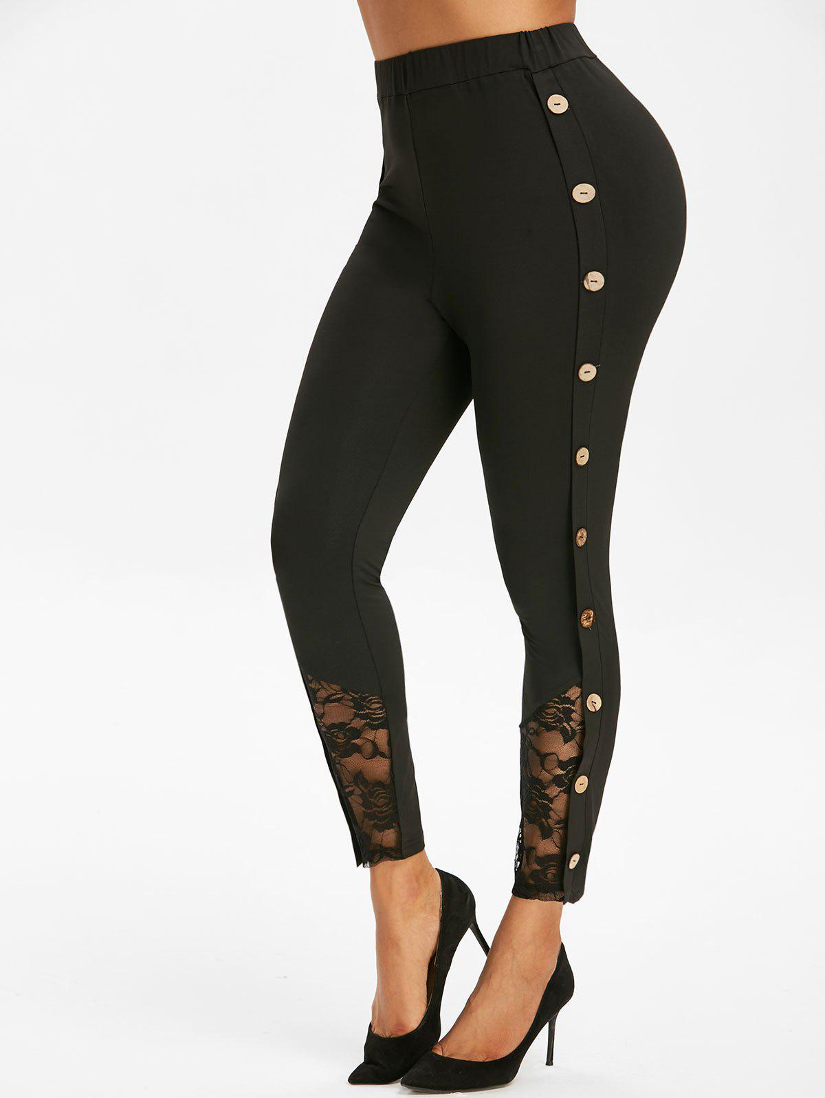 Discount Mock Button Lace Insert Ninth Leggings