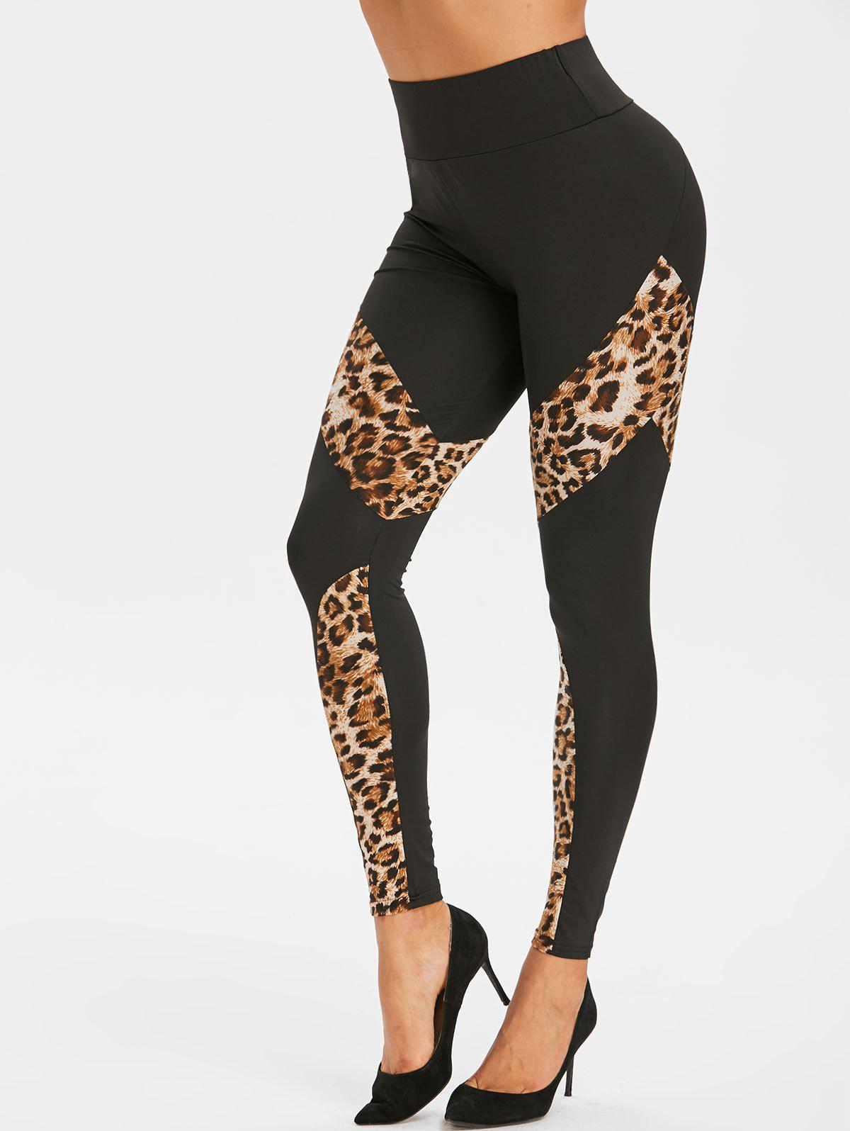 Fashion Zippered Waist Leopard Panel High Waisted Leggings