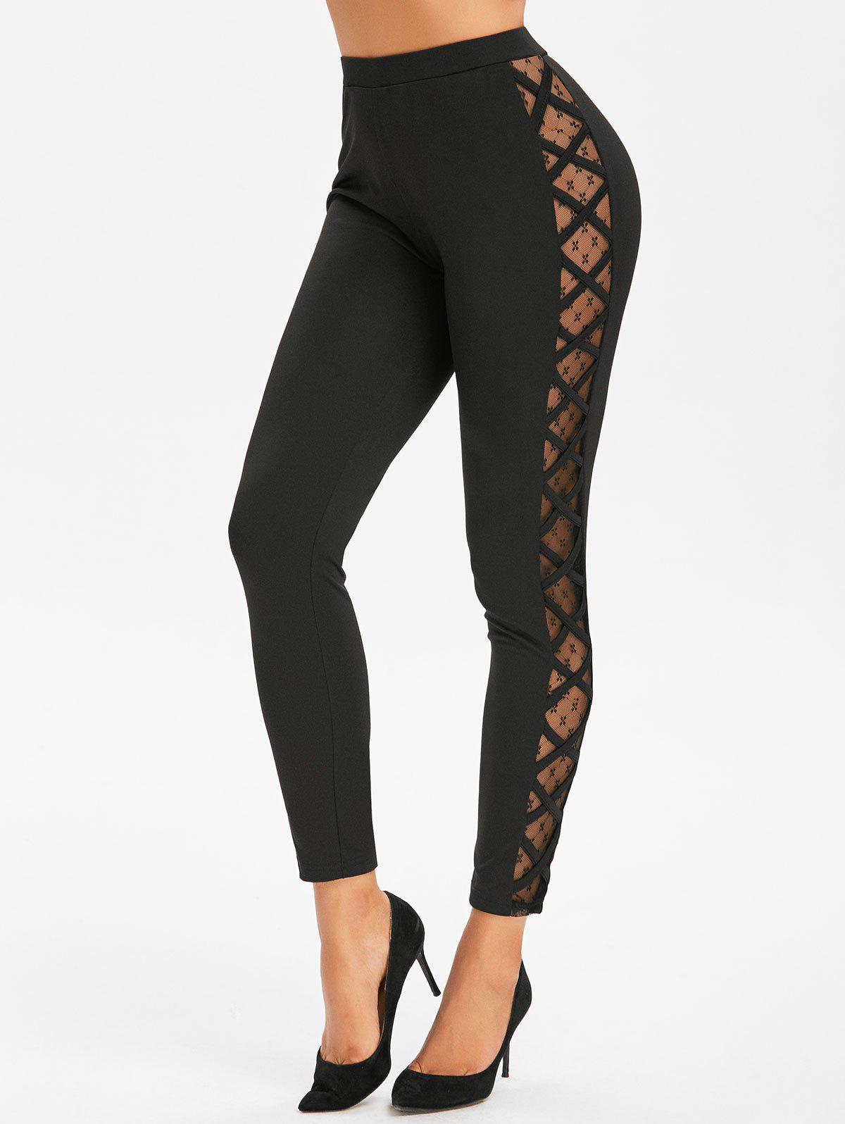 Unique Side Lattice Mesh Panel Footless Leggings