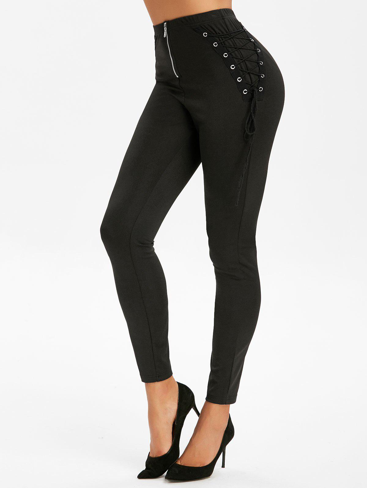 Affordable Lace Up Zip Fly Leggings