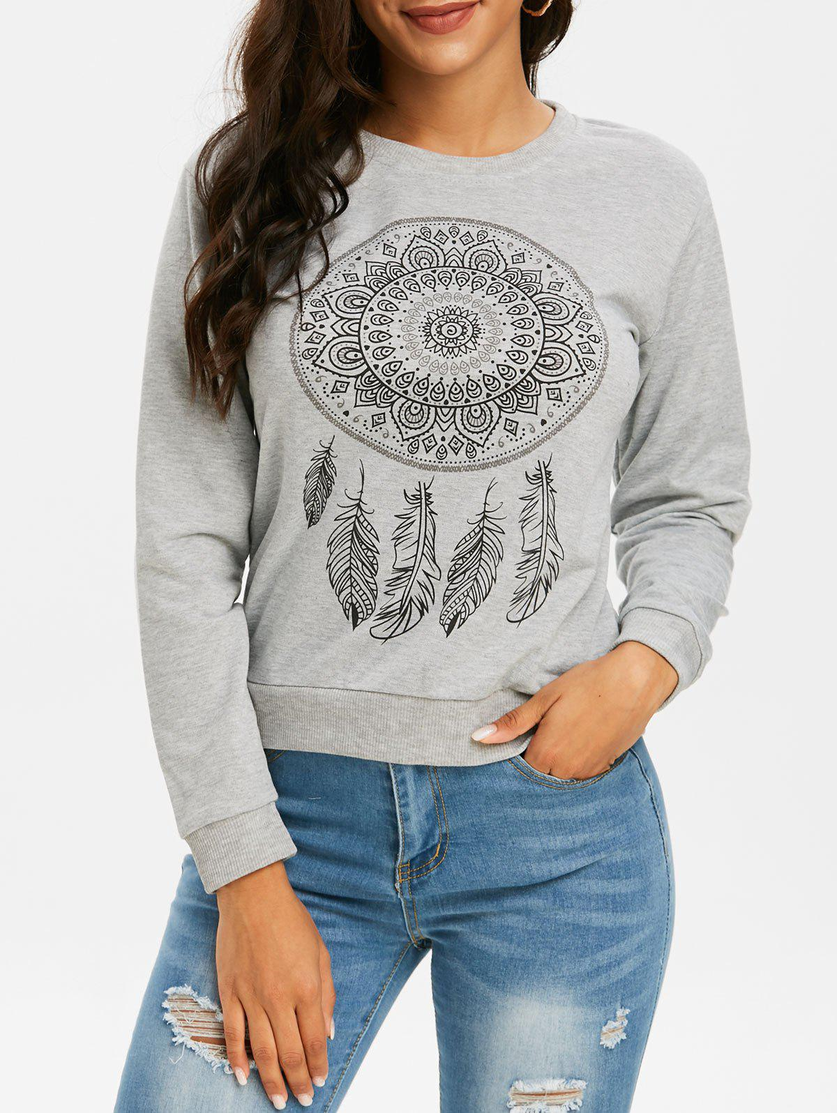 Trendy Feather Graphic Crew Neck Pullover Sweatshirt