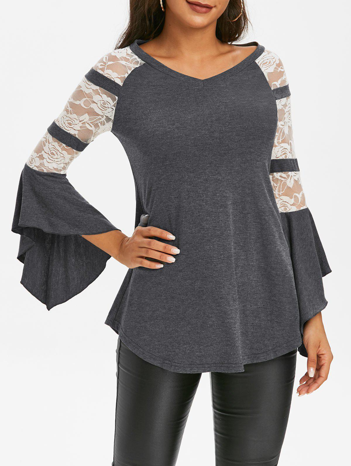 Buy Lace Insert Butterfly Sleeve T Shirt
