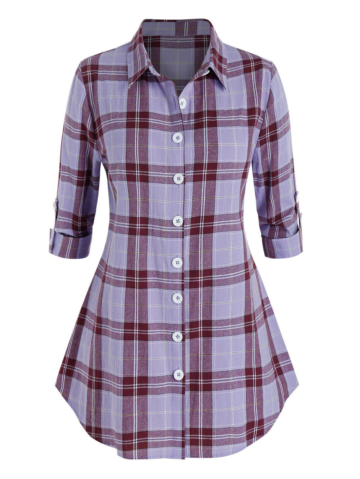 Fancy Plus Size Plaid Rolled Tab Sleeve Round Hem Shirt