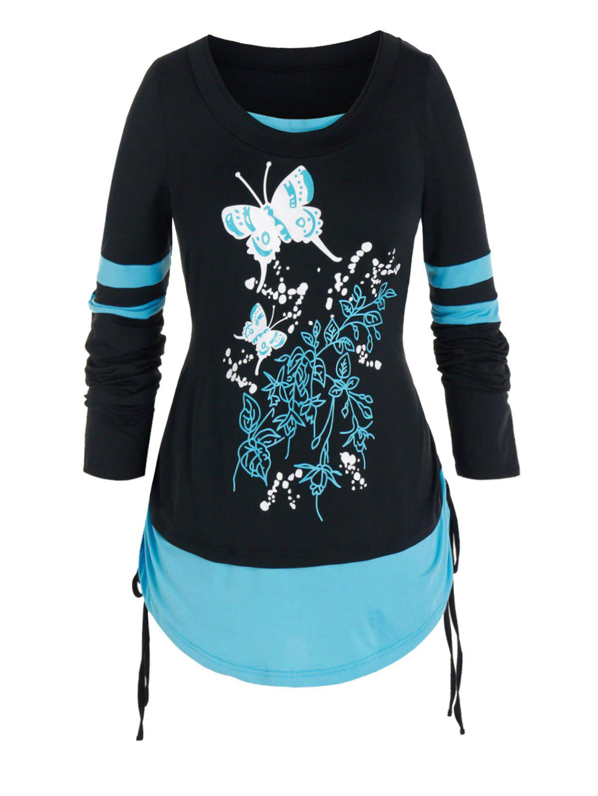 Store Plus Size Butterfly 2 In 1 Cinched Curved Hem Tee