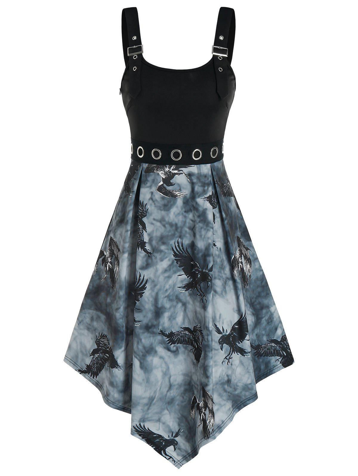 Outfit Grommets Buckle Eagle Print Dress