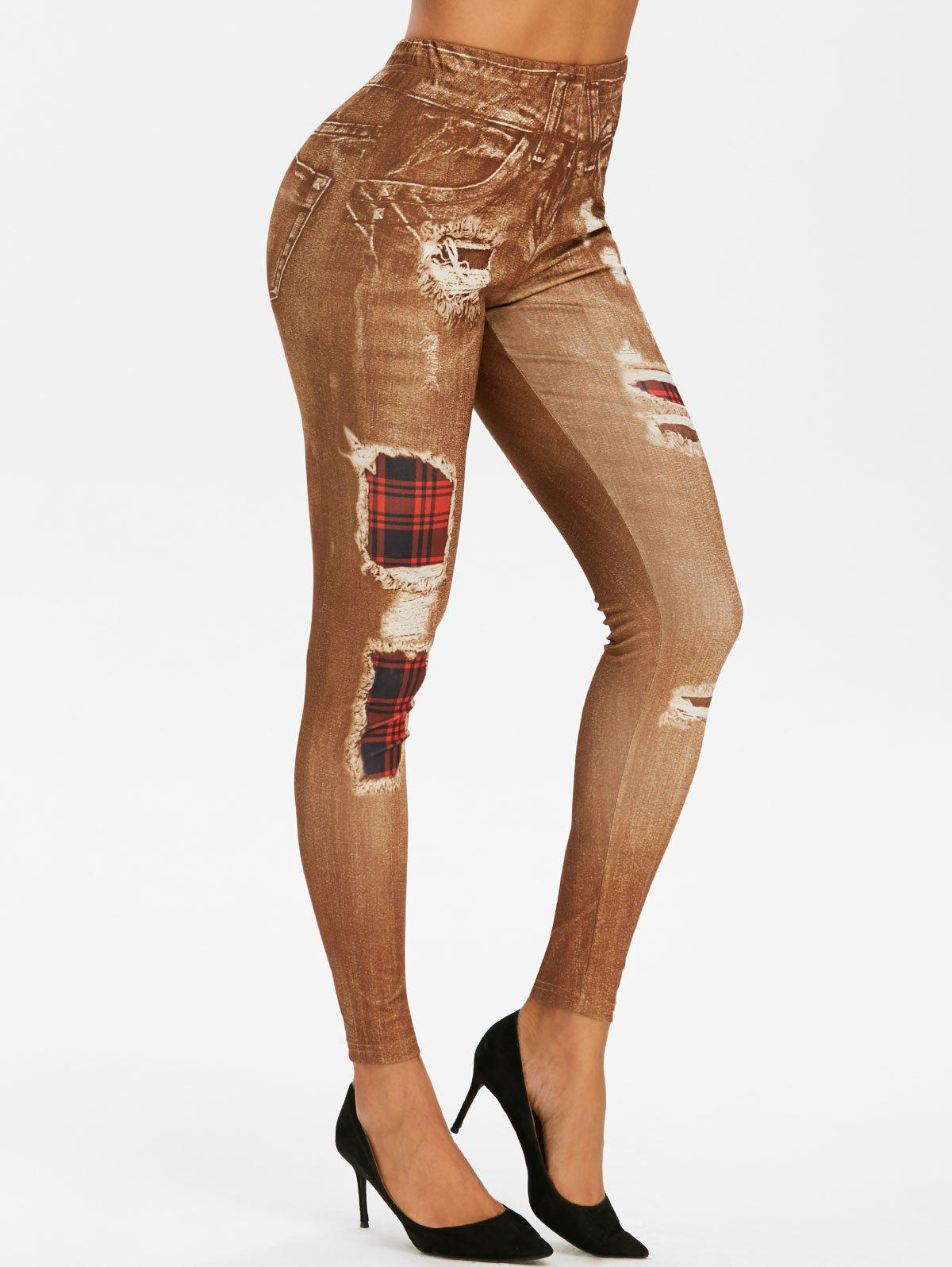 Affordable High Waist 3D Plaid Destroyed Print Jeggings