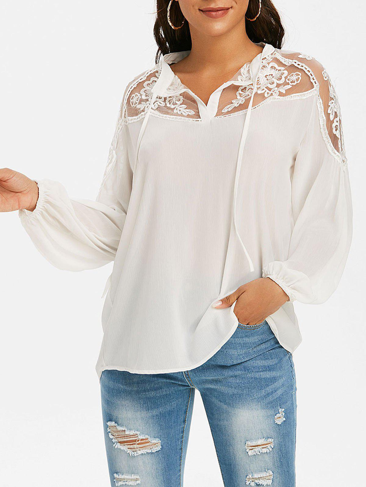 Unique Mesh Embroidered Tie Front Casual Blouse