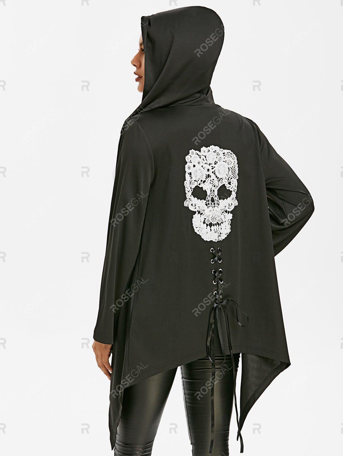 Affordable Halloween Skull Lace Asymmetric Gothic Jacket