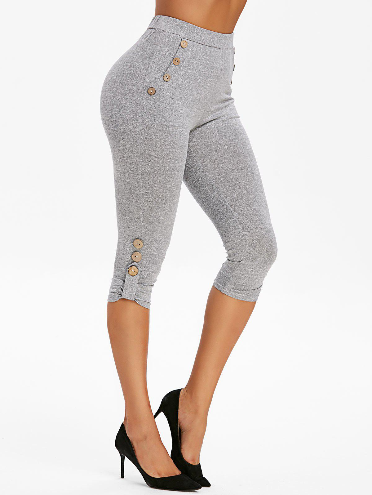 Discount High Waisted Mock Button Marled Skinny Pants