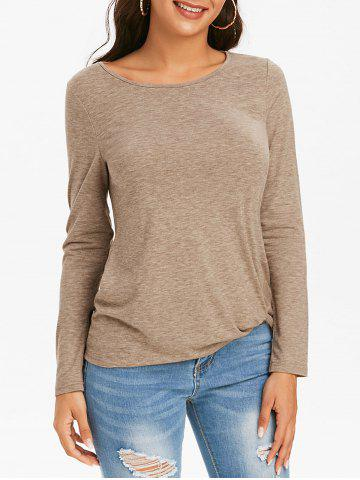 Twist Front Long Sleeve Heathered T-shirt - CAMEL BROWN - 3XL