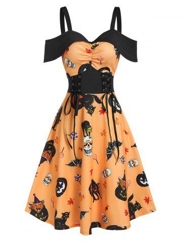 Halloween Pumpkin Animal Print Cold Shoulder Midi A Line Dress